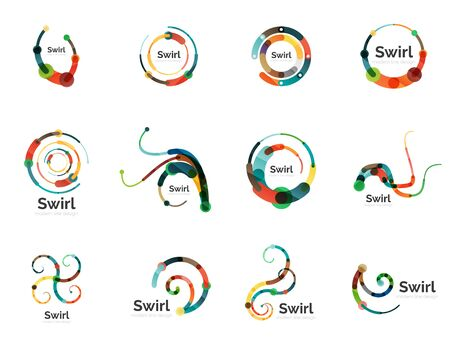 swirl: Vector swirl circle set, linear flat icons Illustration