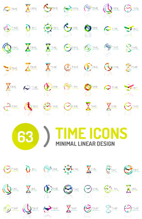 big timer: Set of vector abstract icon ideas, time concepts or clock business icon collection. Illustration