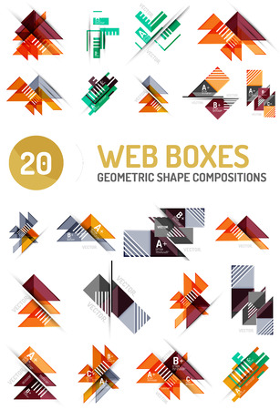 compositions: Set of geometric pattern compositions - triangle and square shapes, web internet boxes with buttons and sample text Illustration
