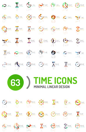 big timer: Set of vector abstract icons ideas, time concepts or clock business icon collection.