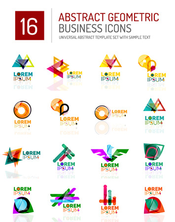 conceptional: Abstract geometric business logo icons set.