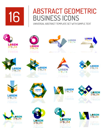 Abstract geometric business icons set.