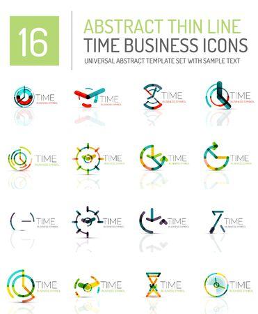 timekeeper: Geometric clock and time icon logo set. Illustration