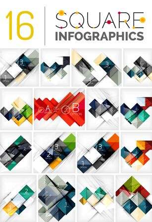prospect: Collection of abstract backgrounds - repetition of square shapes pattern with option infographics text.