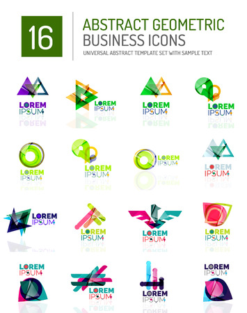 ideological: Abstract geometric business icons set. Colorful geometrical figure compositions with light effects - triangles circles rings arrows lines Illustration