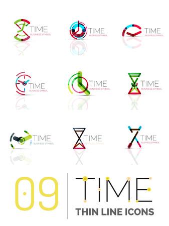 timekeeper: Geometric clock and time icons set. Illustration