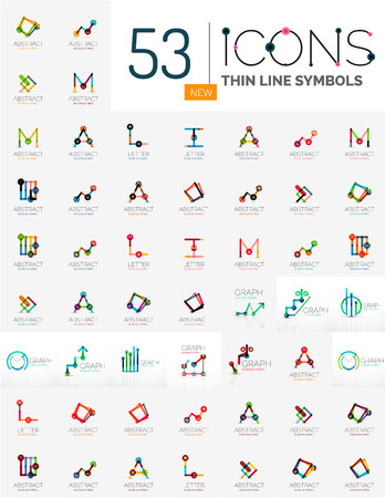 ollection: Collection of linear business icons - charts letters and abstract universal shapes. Illustration