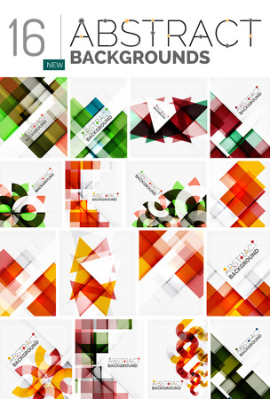 repetition: Collection of abstract backgrounds - repetition of multicolored transparent squares and swirl lines, geometric pattern set. Illustration