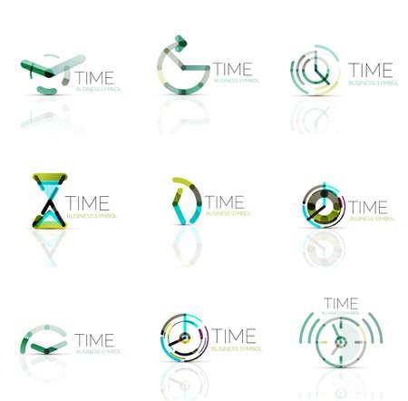 bc69e063fb7e  55791810 - Reloj geométrica y el icono de logo tiempo. delgada línea  símbolos o logotipos estilo plana geométricas. la gestión del tiempo de  negocios