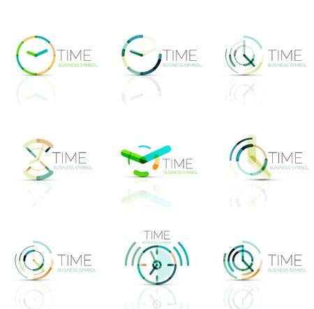 54a97351fae7  55791811 - Reloj geométrica y el icono de logo tiempo. delgada línea  símbolos o logotipos estilo plana geométricas. la gestión del tiempo de  negocios