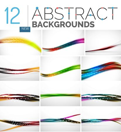 oscillation: Collection of abstract backgrounds - wave and swirl lines, geometric flowing motion pattern. Business and technology universal templates, bright unusual banner designs, text presentation backdrops