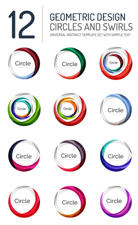 red swirl: Set of abstract swirls and circles, logo vector collection
