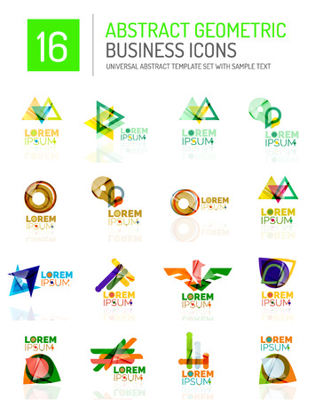 compositions: Abstract geometric business logo icon set. Colorful geometrical figure compositions with light effects - triangles circles rings arrows lines