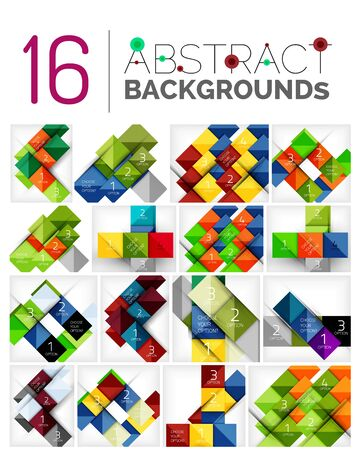 prospect: Collection of abstract backgrounds - repetition of square shapes pattern with option infographics text. Colorful geometric universal template, bright unusual banner design, text presentation backdrop
