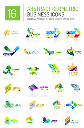 ideological: Abstract geometric business logo icon set. Colorful geometrical figure compositions with light effects - triangles circles rings arrows lines