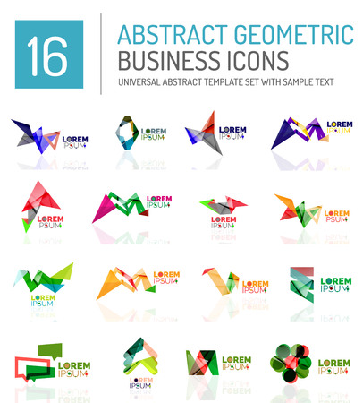 Abstract geometric business  icon set. Colorful geometrical figure compositions with light effects - triangles circles rings arrows lines