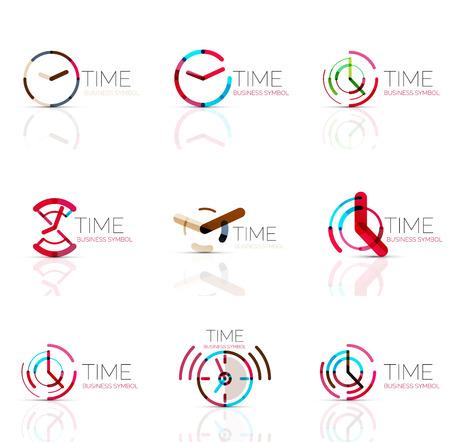 reloj geométrica y el icono de logo tiempo. delgada línea símbolos o logotipos estilo plana geométricas. la gestión del tiempo de negocios, corriendo idea de tiempo, el concepto de temporización