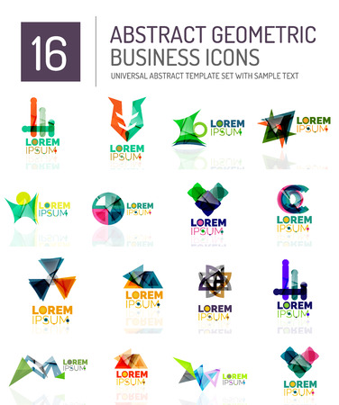 conceptional: Abstract geometric business logo icon set. Colorful geometrical figure compositions with light effects - triangles circles rings arrows lines