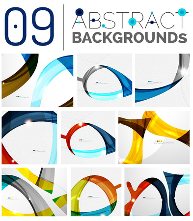 influx: Collection of wave abstract backgrounds - color curve stripes and lines in various motion concepts and with light and shadow effects. Presentation banner and business card message design template set