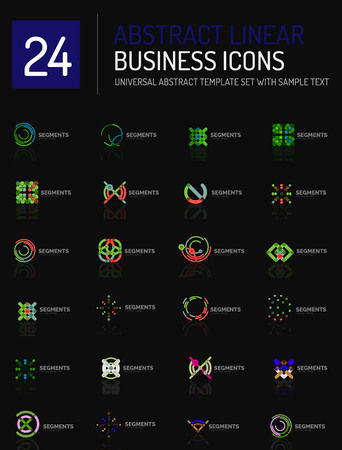 logotypes: Abstract geometric business logo icon set. Linear design, thin line flat logotypes - swirls circles triangles and squares Illustration