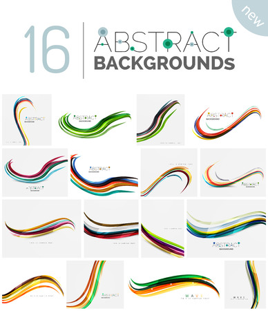 swell: Collection of wave abstract backgrounds - color curve stripes and lines in various motion concepts and with light and shadow effects. Presentation banner and business card message design template set. Illustration
