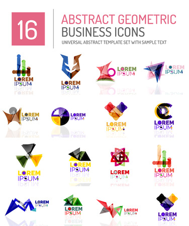 ideological: Abstract geometric business icon set. Colorful geometrical figure compositions with light effects - triangles circles rings arrows lines
