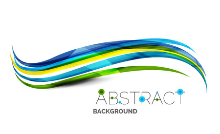 technical background: Colorful stripes wave composition, business template - geometric abstract background, swirl colorful lines - color curve stripes and lines in motion concept and with light and shadow effects. Presentation banner and business card message design template Illustration