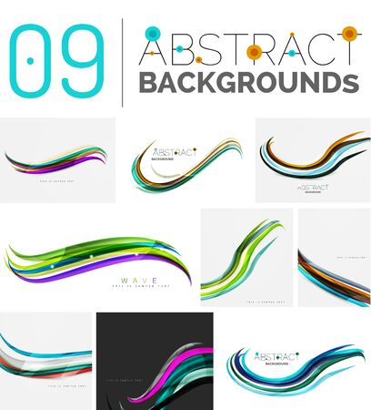 transcendent: Wave abstract background collection - color lines with light effects. Modern elegant motion concept, smooth wavy shape. Presentation banner and identity business card message design template set Illustration