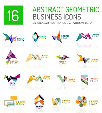conjunto abstracto geométrico icono logotipo de la empresa. composiciones de figuras geométricas de colores con efectos de luz - triángulos círculos anillos flechas líneas