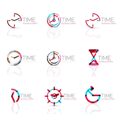 timing: Geometric clock and time icon logo set. Thin line geometric flat style symbols or logotypes. Business time management, running time idea, timing concept