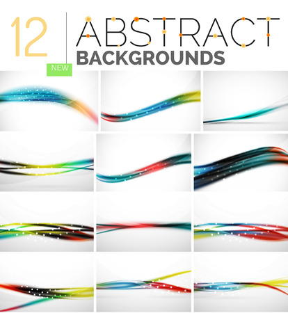 fluctuation: Collection of abstract backgrounds - wave and swirl lines, geometric flowing motion pattern. Business and technology universal templates, bright unusual banner designs, text presentation backdrops