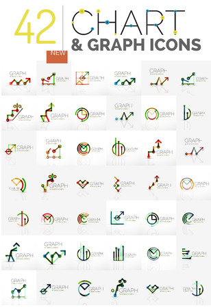 abstracts: Collection of linear abstracts - chart and graph icons - clean geometric symbols. Growing stats finance concepts, clean modern symbols. Branding logotype company emblem ideas and branding business identity