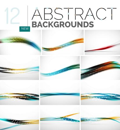 pulsing: Collection of abstract backgrounds - wave and swirl lines, geometric flowing motion pattern. Business and technology universal templates, bright unusual banner designs, text presentation backdrops
