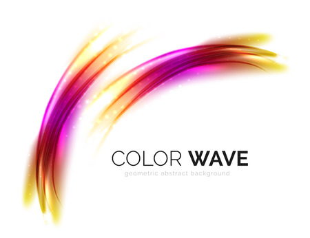 yellow line: Blurred vector wave design elements with shiny light effects
