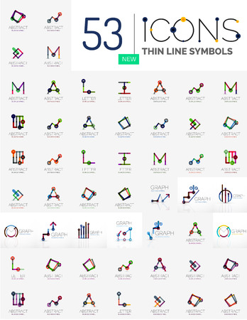 ollection: Collection of linear business - charts letters and abstract universal shapes. Growing stats finance concepts, clean modern symbols, graphs. Branding company emblem ideas and branding business identity Illustration