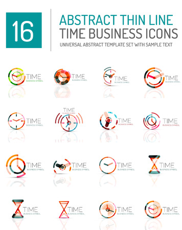 horologe: Geometric clock and time icon set. Thin line geometric flat style symbols or logotypes. Business time management, running time idea, timing concept Illustration