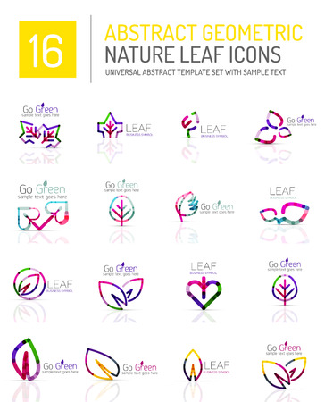 life style: Geometric leaf icon set. Thin line geometric flat style symbols. Nature green environmental concept, new life idea in various color variations. Eco love heart