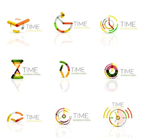 Geometric clock and time icon set. Thin line geometric flat style symbols. Business time management, running time idea, timing concept