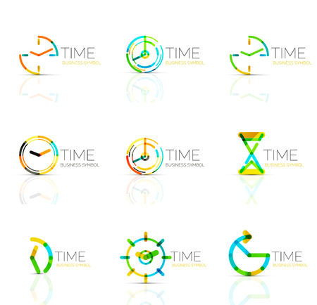 timing: Geometric clock and time icon set. Thin line geometric flat style symbols. Business time management, running time idea, timing concept