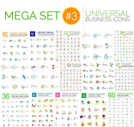 mega: mega collection, abstract geometric business icon set Illustration