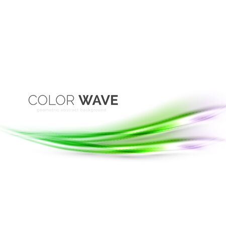 white wave: Shiny color wave isolated on white, lines with light effects Illustration