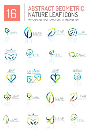leafage: Geometric leaf icon set. Thin line geometric flat style symbols or logotypes. Nature green environmental concept, new life idea in various color variations. Eco love heart