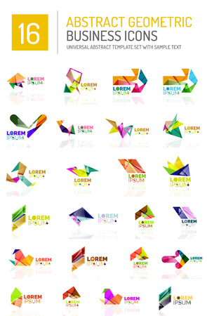 conceptional: Abstract geometric business  icon set. Colorful geometrical figure compositions with light effects - triangles circles rings arrows lines