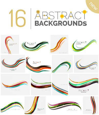 Collection of wave abstract backgrounds - color curve stripes and lines in various motion concepts and with light and shadow effects. Presentation banner and business card message design template set. Illustration