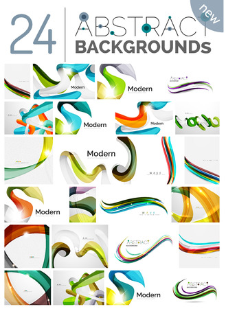 abstract rainbow: Collection of wave abstract backgrounds - color curve stripes and lines in various motion concepts and with light and shadow effects. Presentation banner and business card message design template set. Illustration