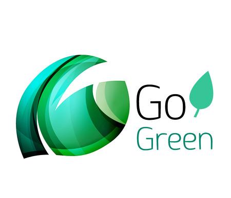 go green logo: Go green nature concept. Vector logo leaf