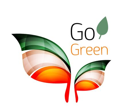 trees services: Go green nature concept. Vector logo leaf