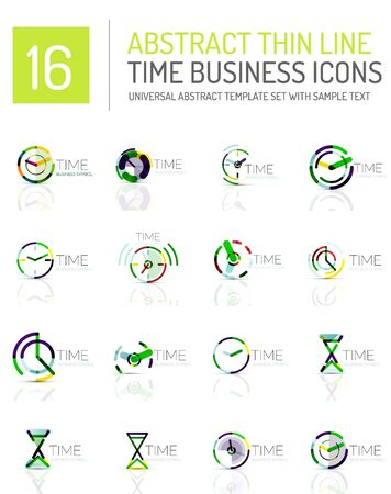 horologe: Geometric clock and time icon logo set. Thin line geometric flat style symbols or logotypes. Business time management, running time idea, timing concept