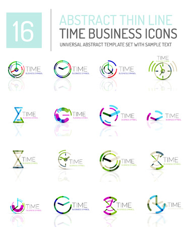Geometric clock and time icon  set. Thin line geometric flat style symbols or . Business time management, running time idea, timing concept