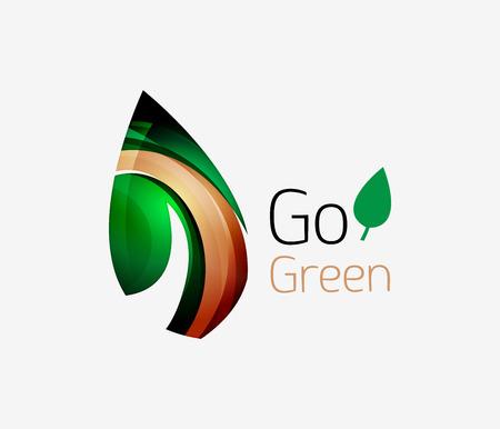 original ecological: Minimalistic modern abstract leaf design, nature logo. Vector illustration Illustration